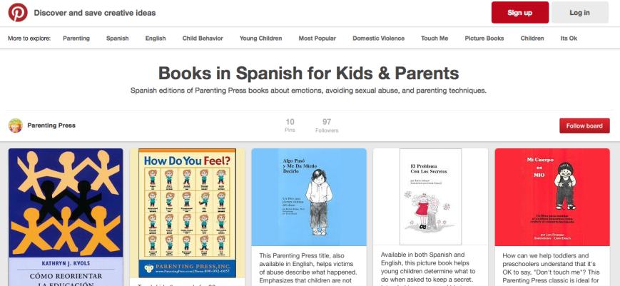 BPNW  member Parenting Press shows off Spanish titles on Pinterest